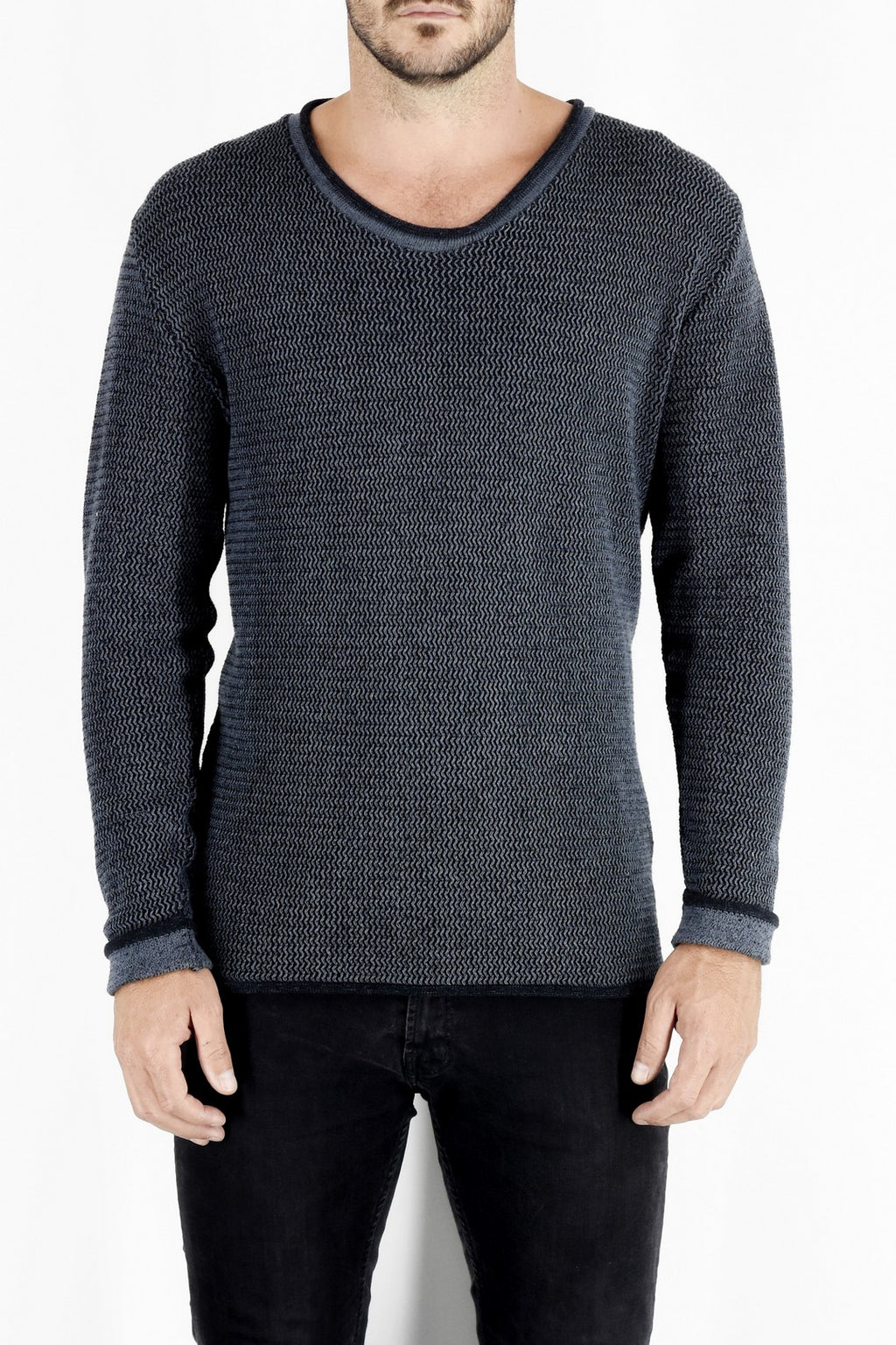 Mens Knitwear Grey Marl Jersey/Jumper with Side Zips ZG5158