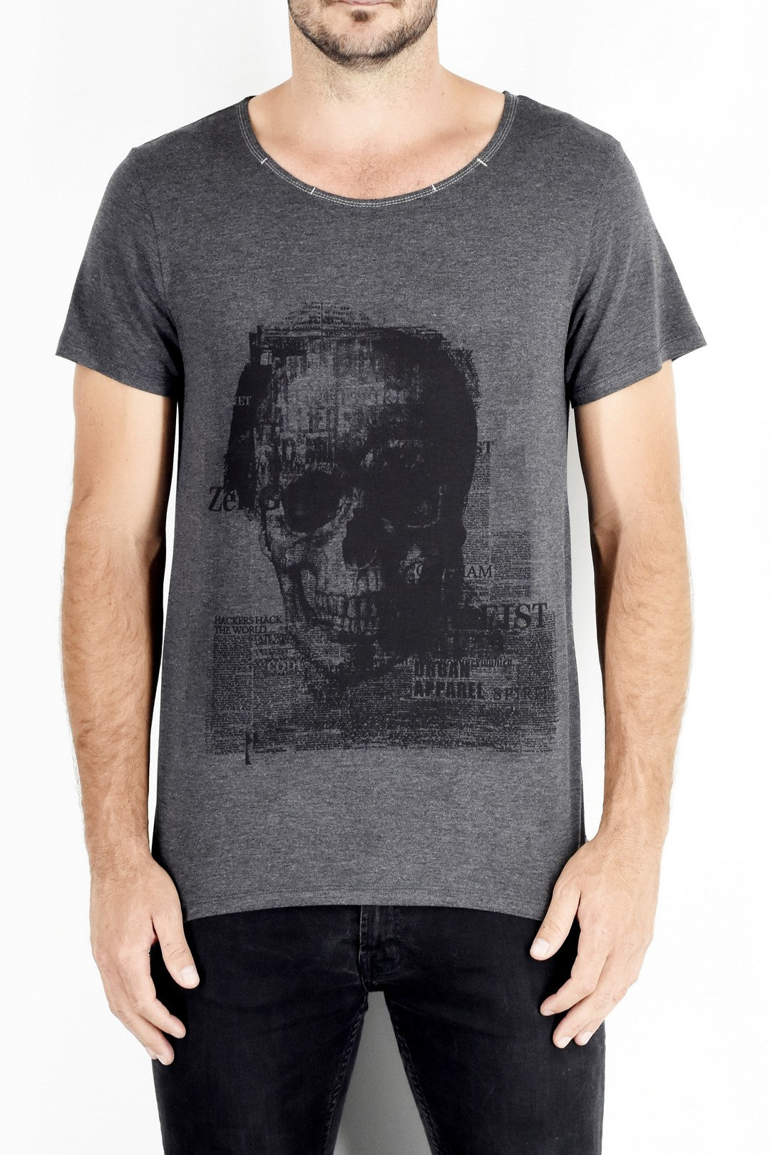 Skull print T in Charcoal Grey ZG5160
