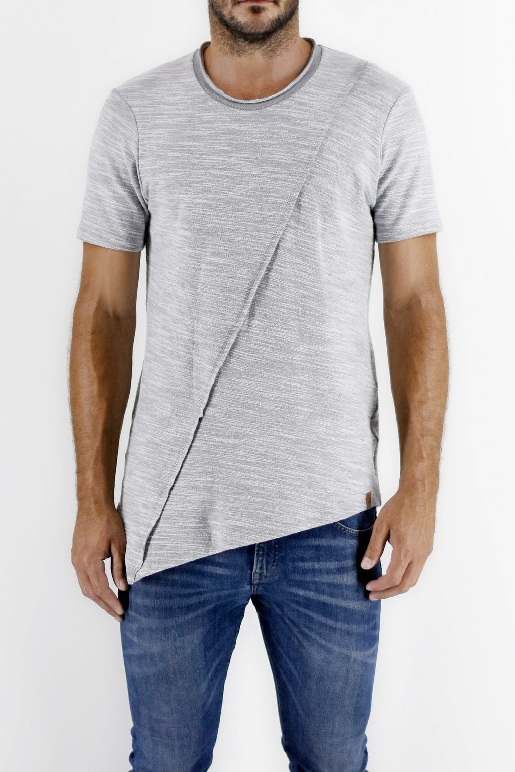 ZG5172 Asymmetric  unbrushed ice melange T-shirt