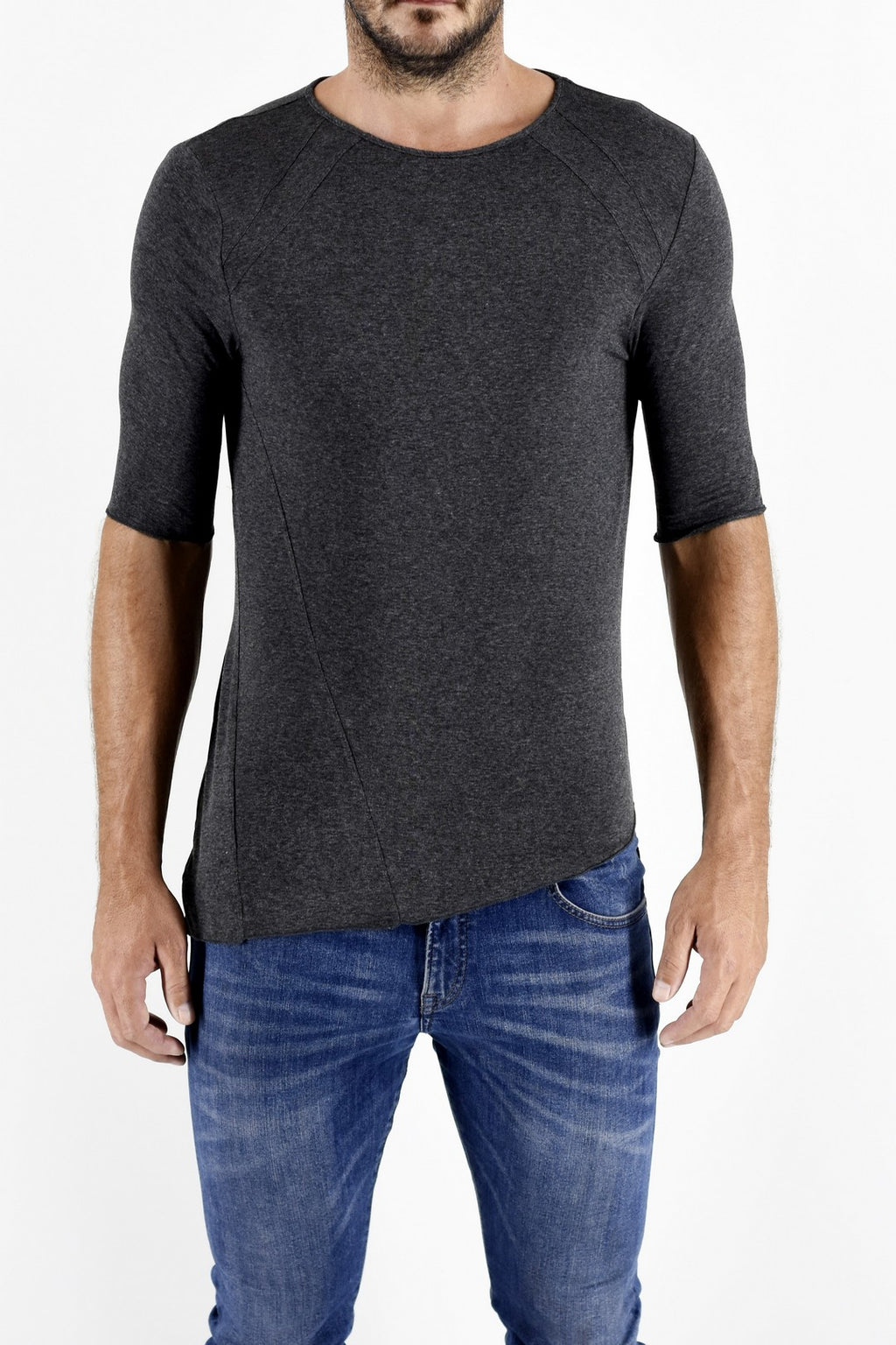 ZG5173 Charcoal Marl 3/4 Sleeve T Shirt