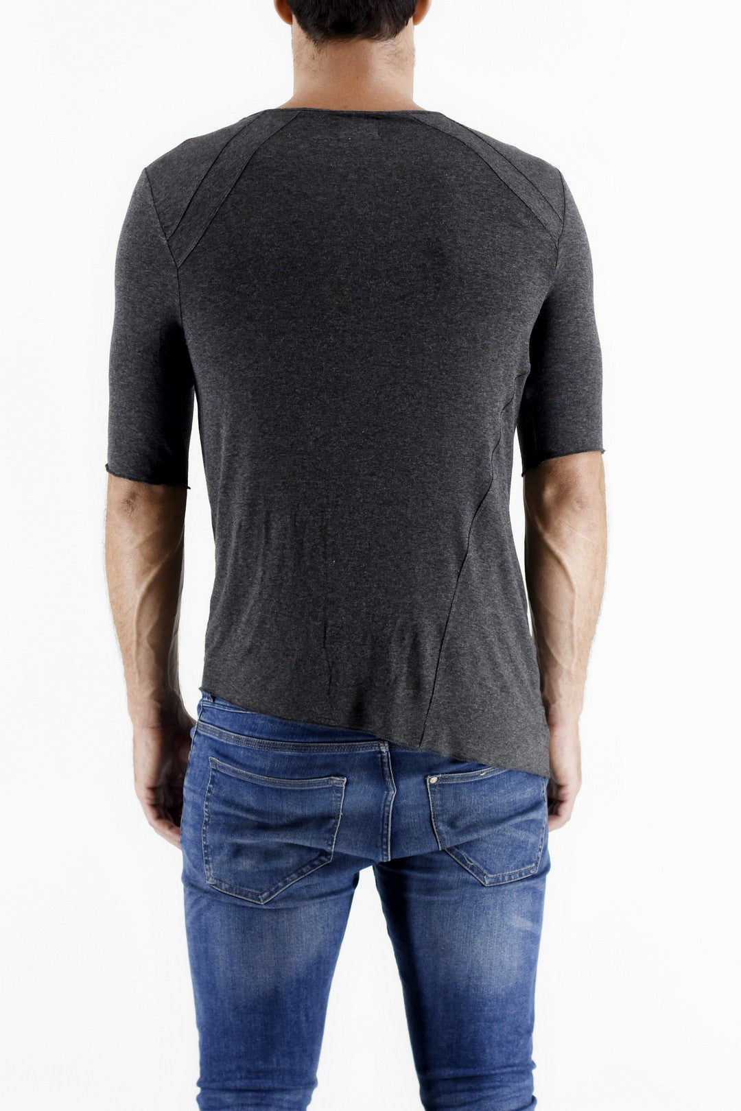 Charcoal Marl 3/4 Sleeve T Shirt ZG5173 back view
