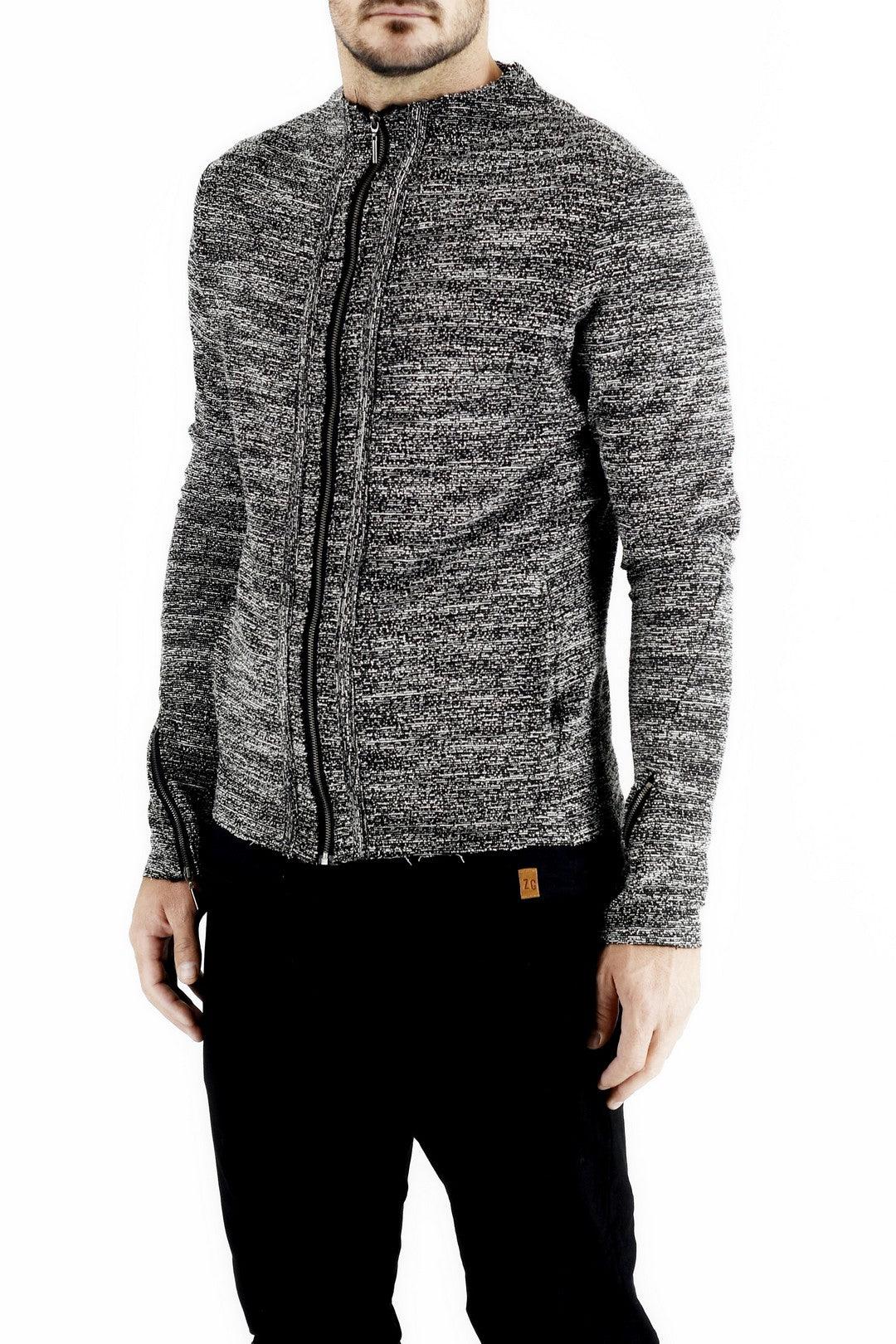 Mens Zip Jacket in Marl Boucle made by Zeitgeist side view