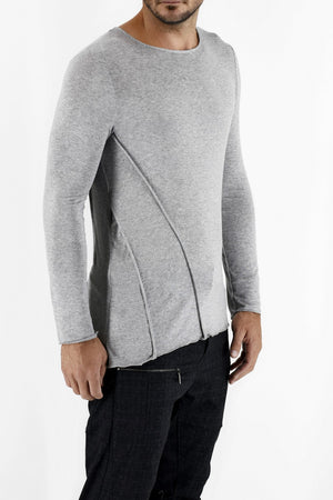 Zeitgeist mens grey marl cutline T-shirt