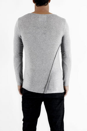 Mens Grey Melange Long Sleeve T-shirt with Diagonal Cutlines ZG5195