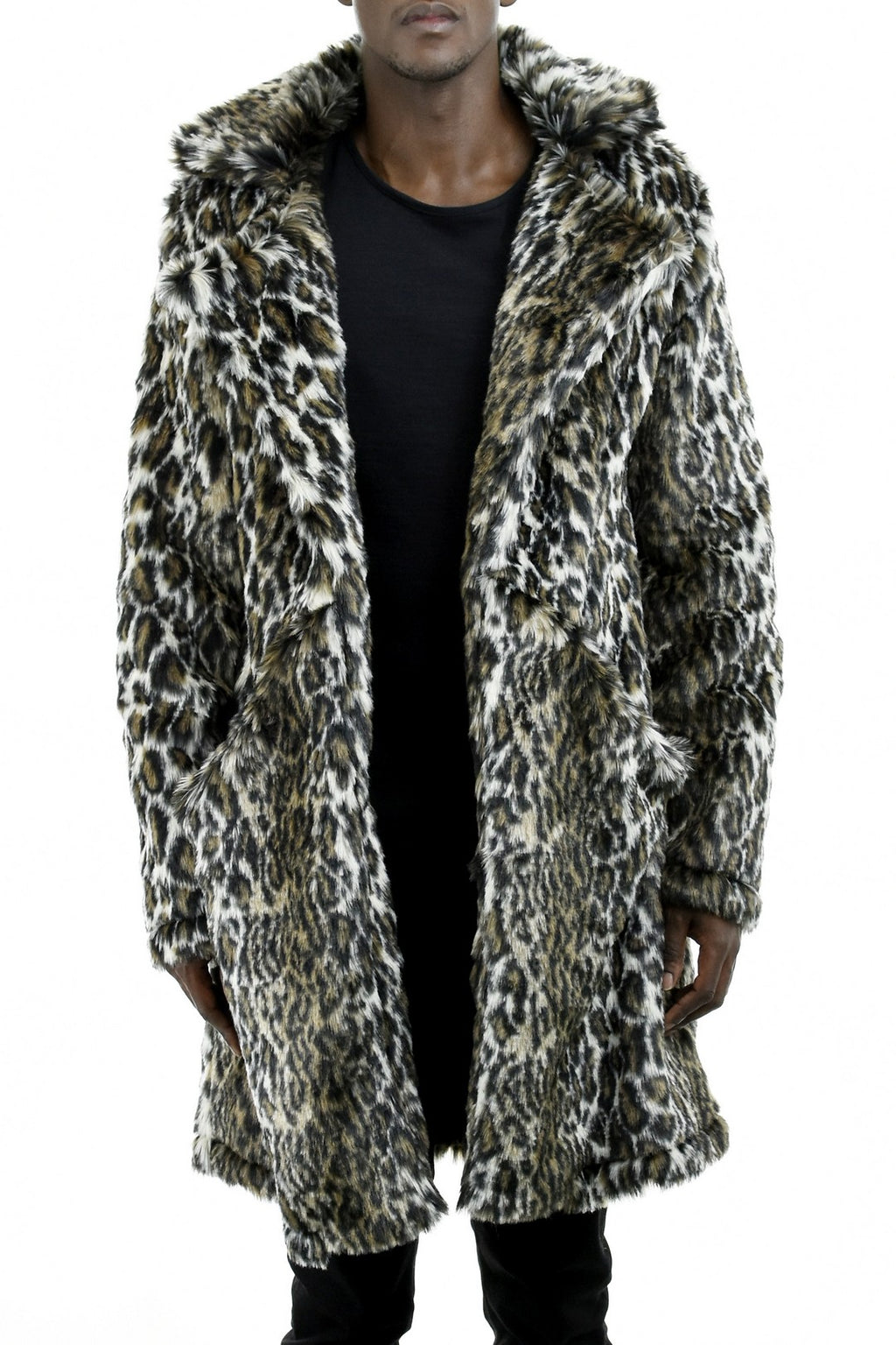Mens Leopard Faux Fur Coat ZG5203