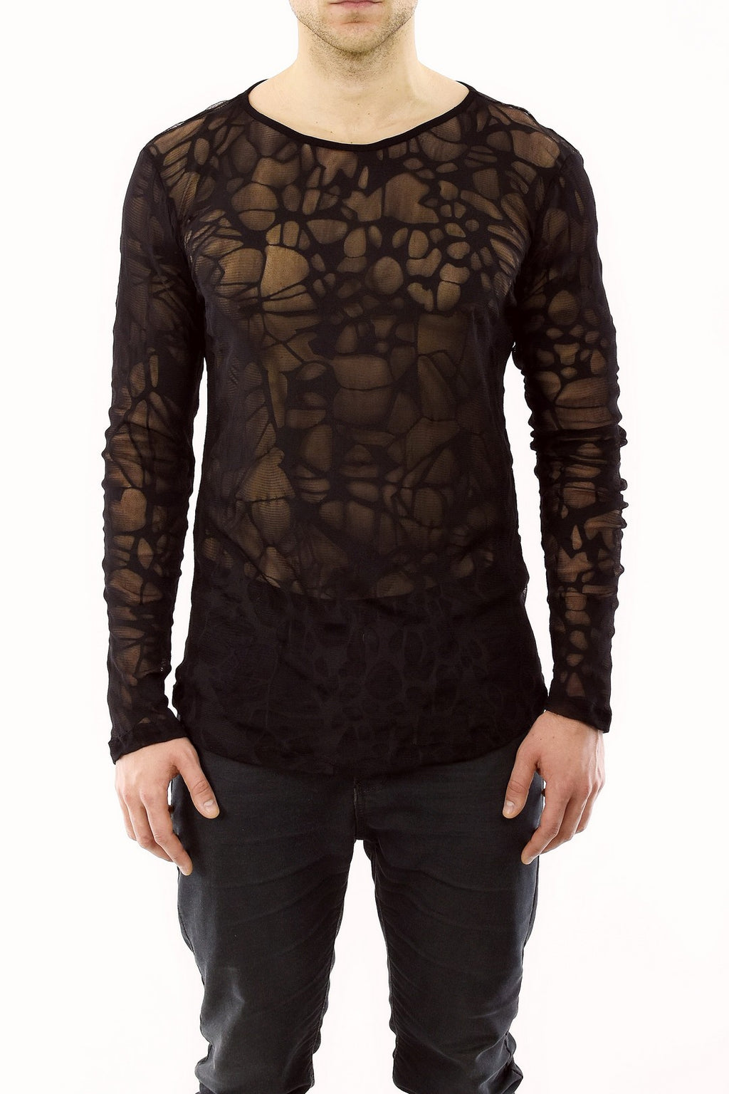 Mens Black Burnout Mesh T shirt ZG5219