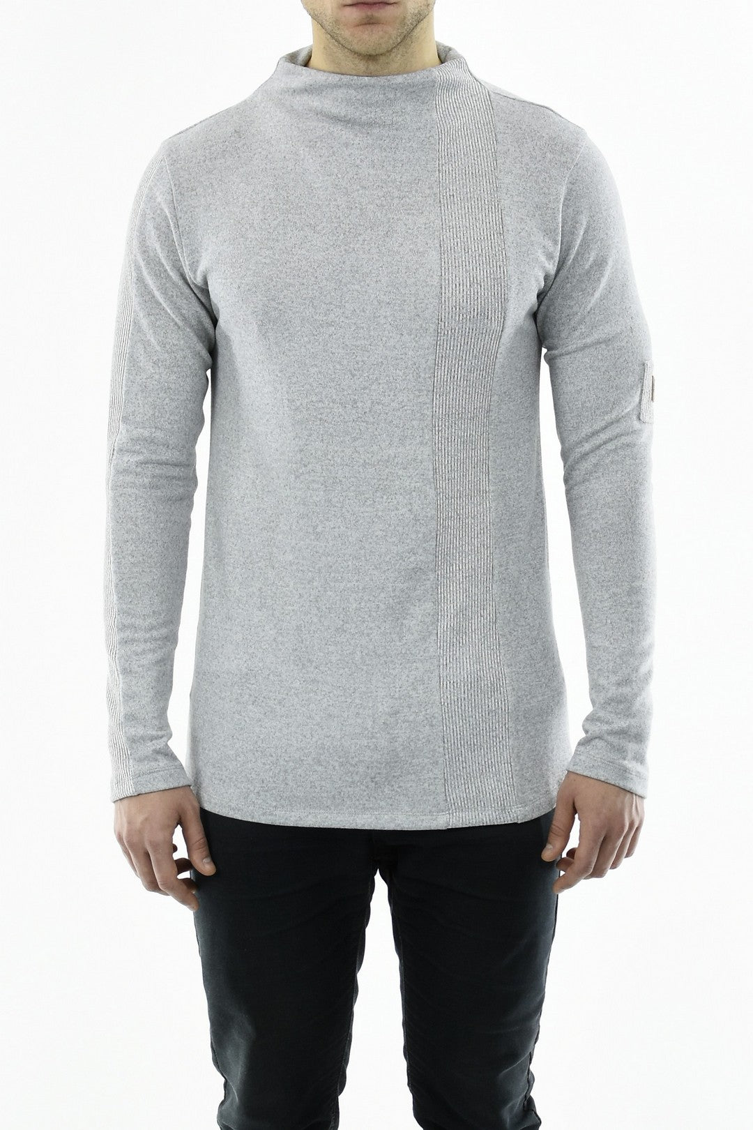 Mens Grey Cut-and-Sew Funnel neck T ZG5220