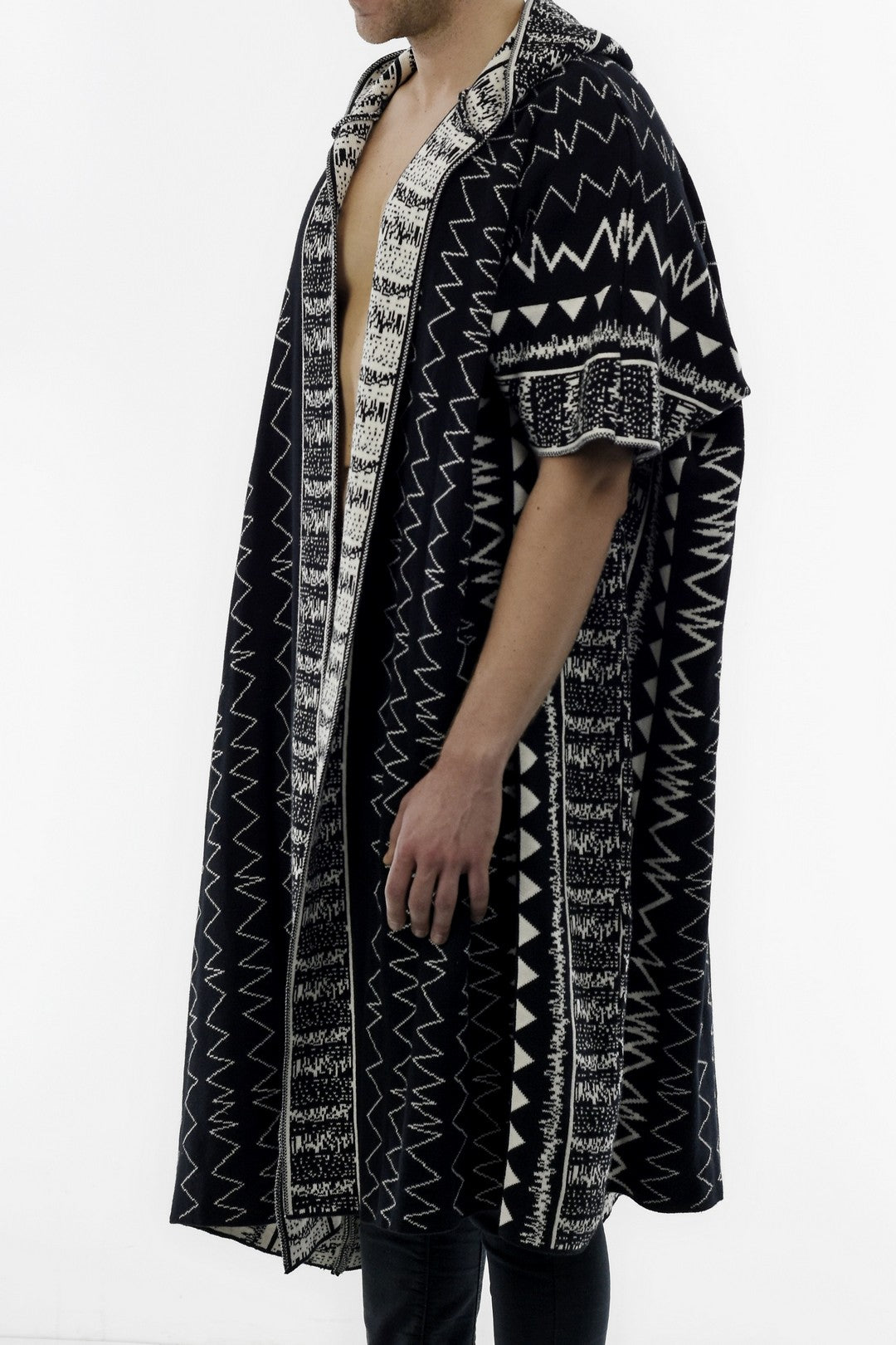 Mens Knitwear Poncho with Ethnic Jacquard Design V2 ZG5223