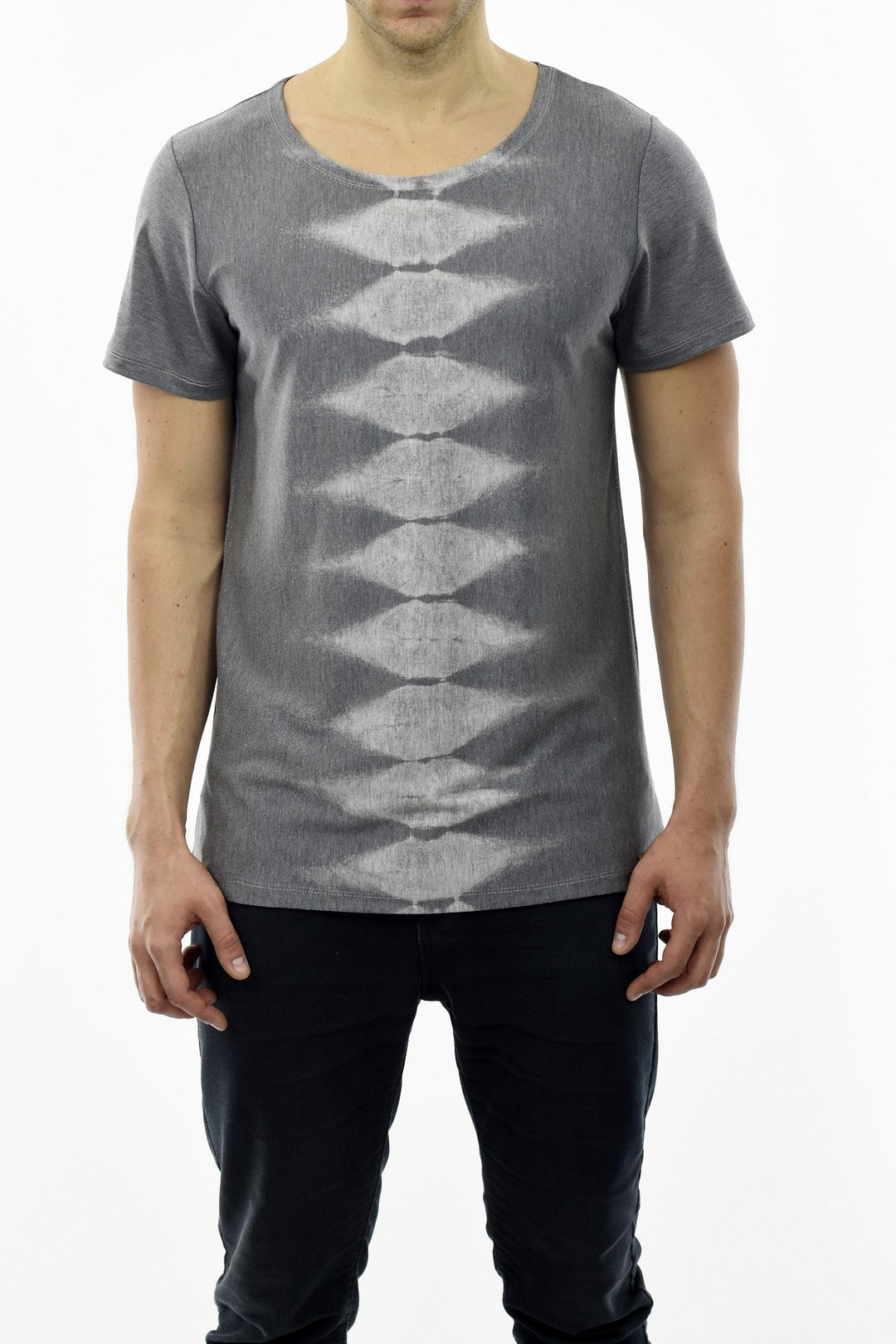 Mens Summer T-shirt Print T in Grey Marl with Spine Motif ZG5230