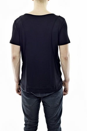 Mens Black Mock Vest Overlay Summer T ZG5232
