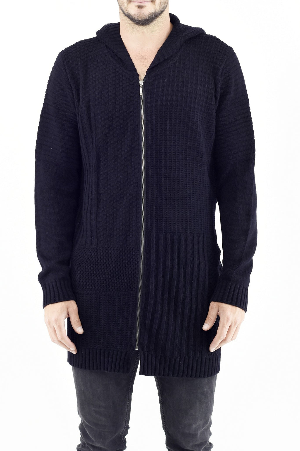 Mens Zip Patchwork Cardi in Black Cotton ZG5239