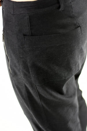 Mens Linen Pants Black with Zip Pocket and Cutline Detail ZG5243