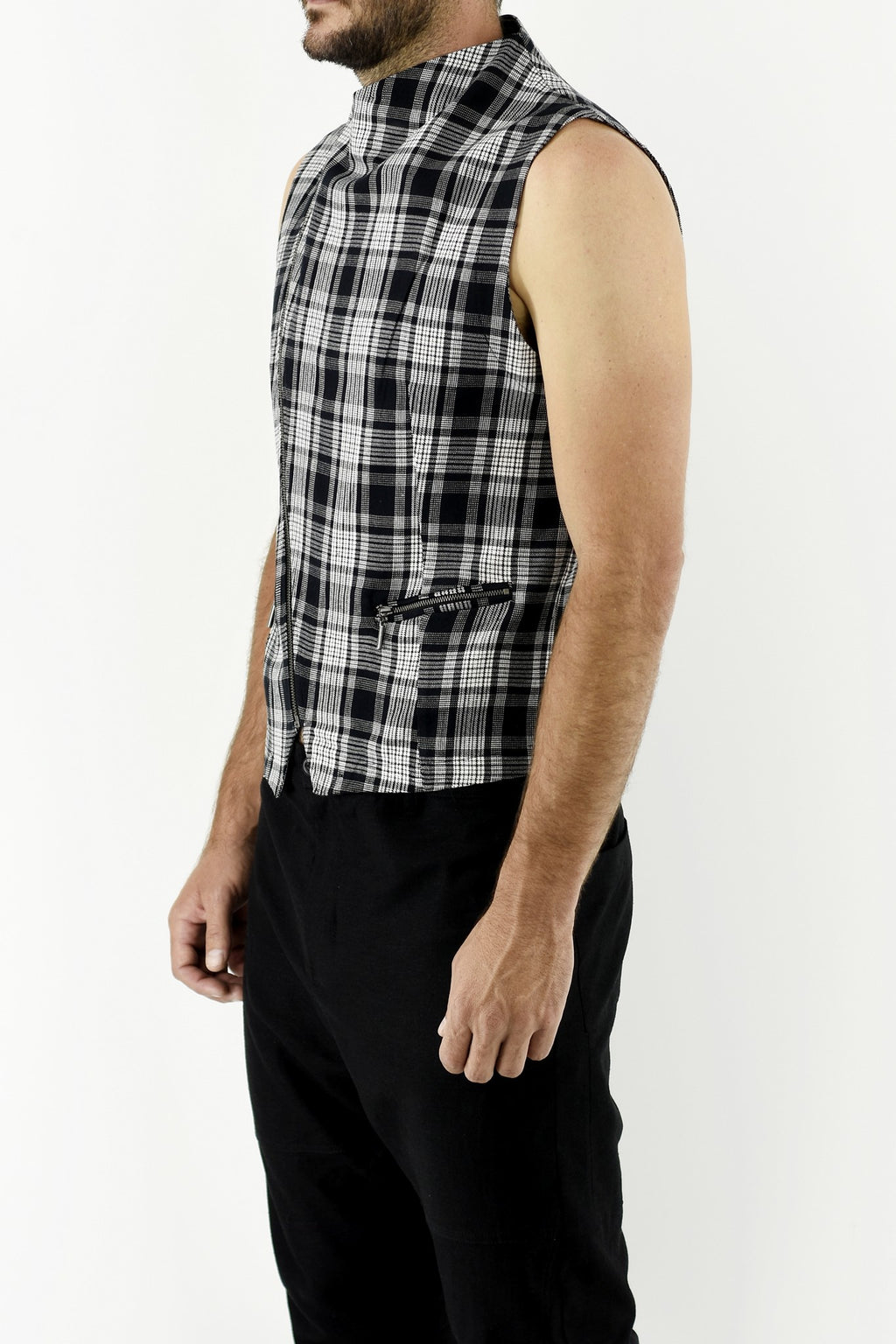 Mens Asymmetric Waistcoat in Black/White Check ZG5233