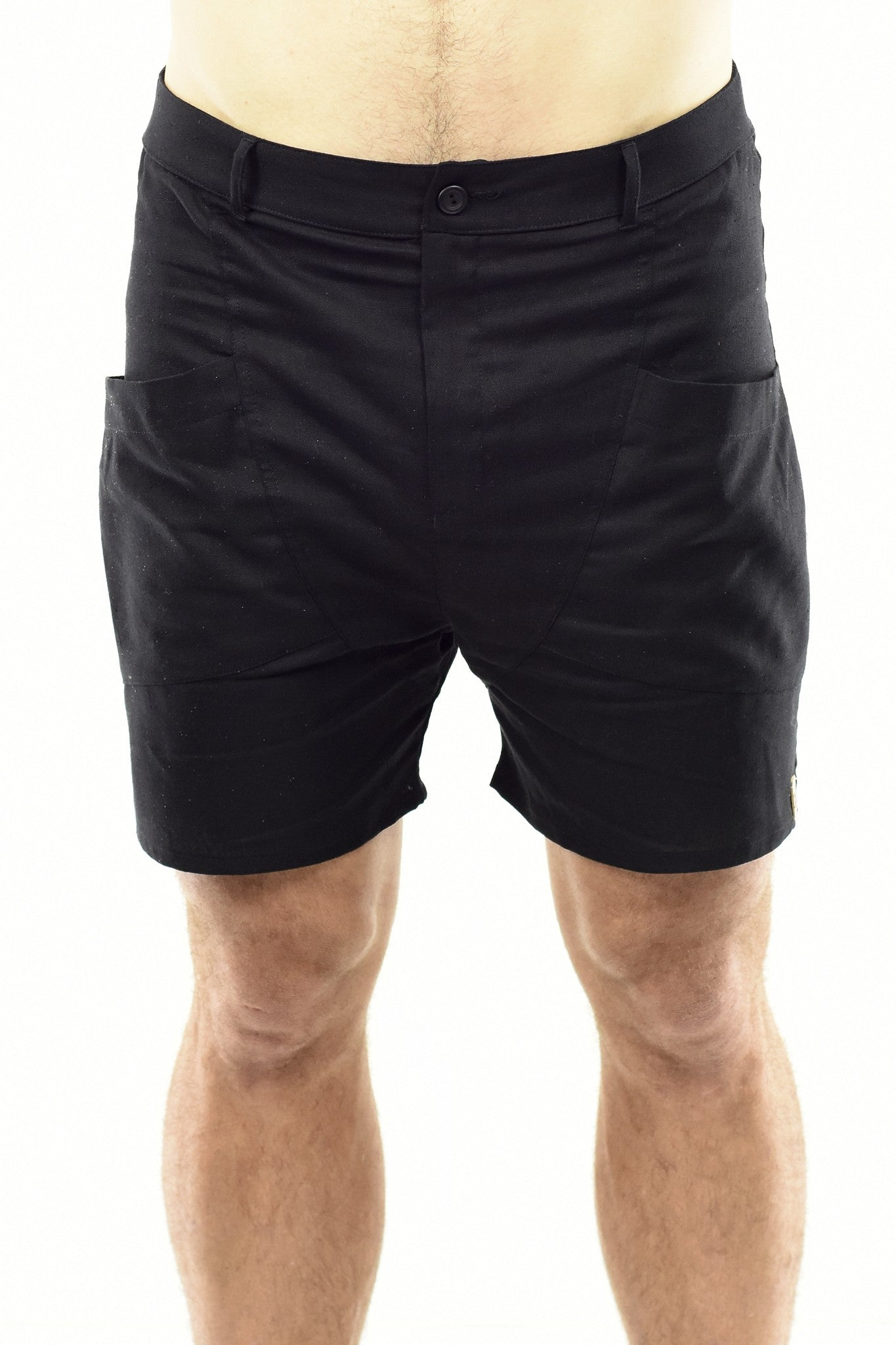 Mens Stretch Linen Shorts in Black ZG5248