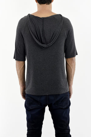 Mens Dark Grey Melange Wide Neck Hoody T-shirt ZG5251