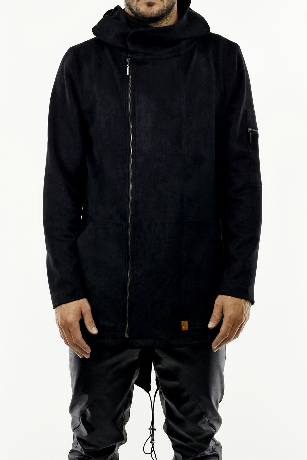Mens Black Textured Parka with Zip Detail ZG5257