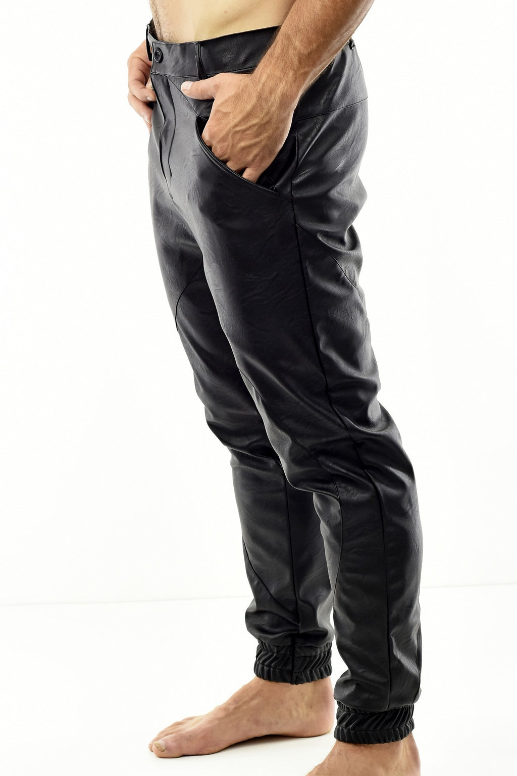 Mens Black Pleather Pants with Cutline and Cuff Detail ZG5258