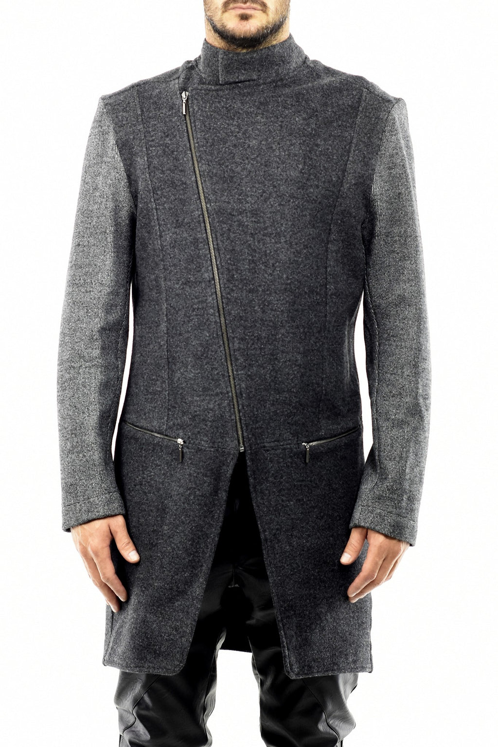 Mens Grey Asymmetric Zip Detail Melton Wool Coat ZG5261