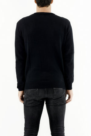 Mens Knitwear Black Crewneck Slip Stitch Detail Sweater ZG5265