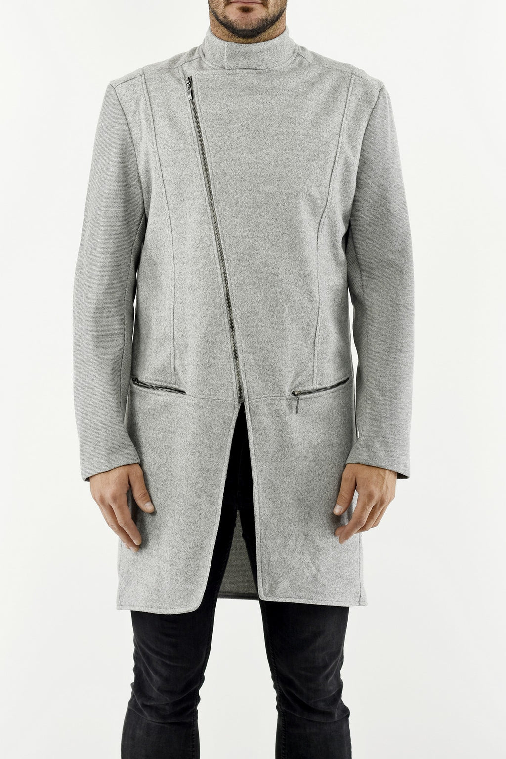 Mens Light Grey Asymmetric Zip Detail Melton Wool Coat ZG5266