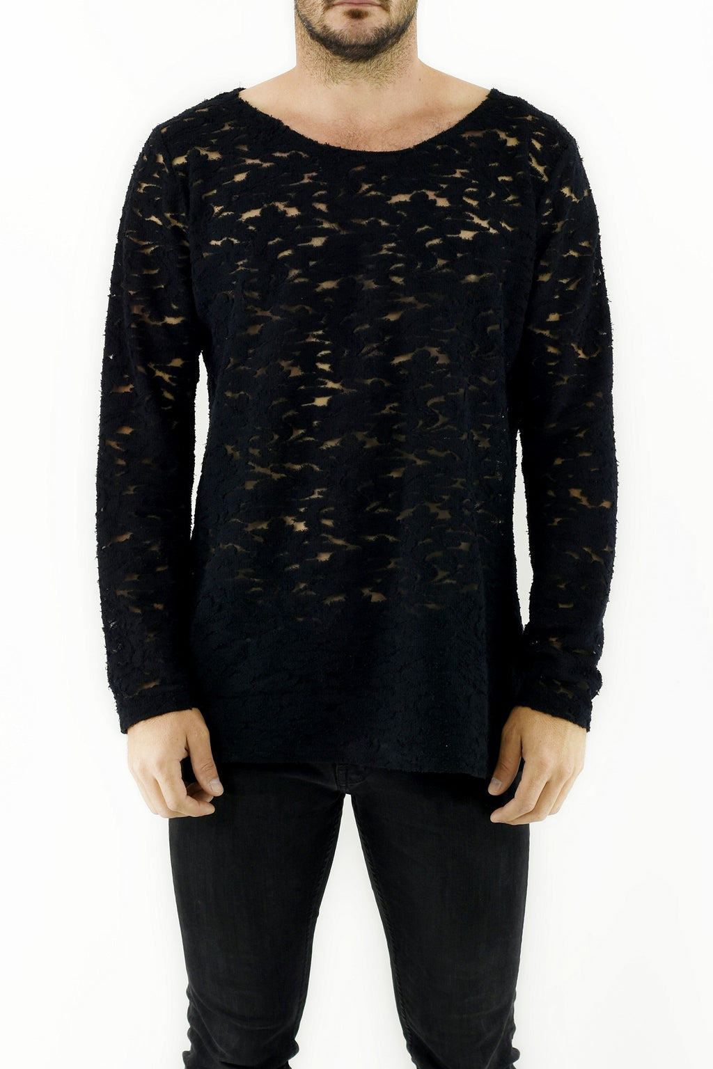 Mens Black Lace T shirt ZG5268