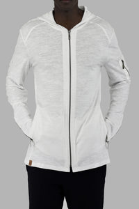 Mens White Zip Hoody with back tape detail ZG5281