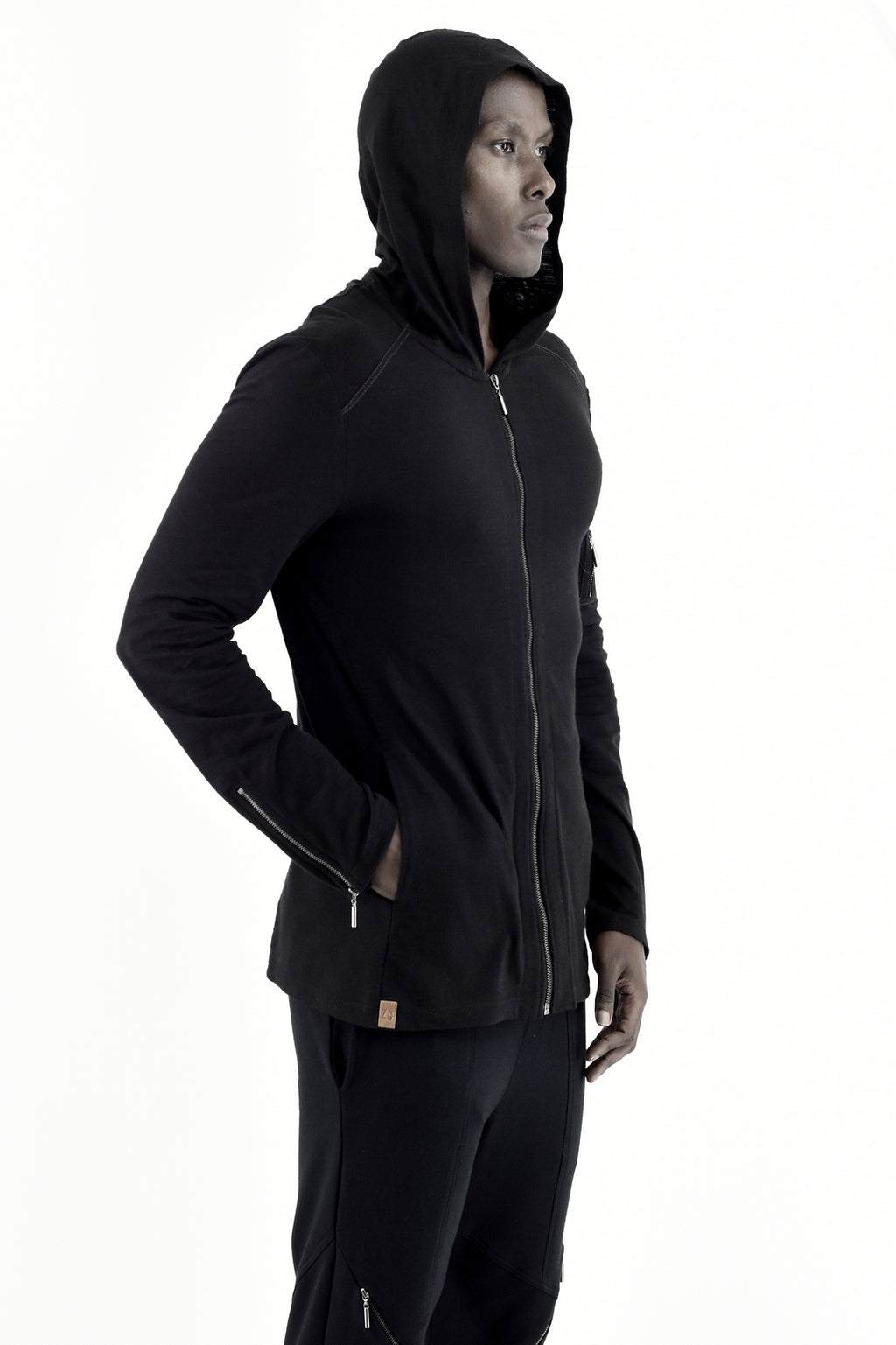 Mens Black Zip Hoody with back tape detail ZG5282