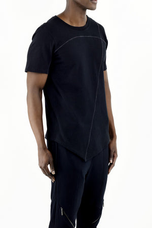 Mens Black Cotton Cutline T ZG5283
