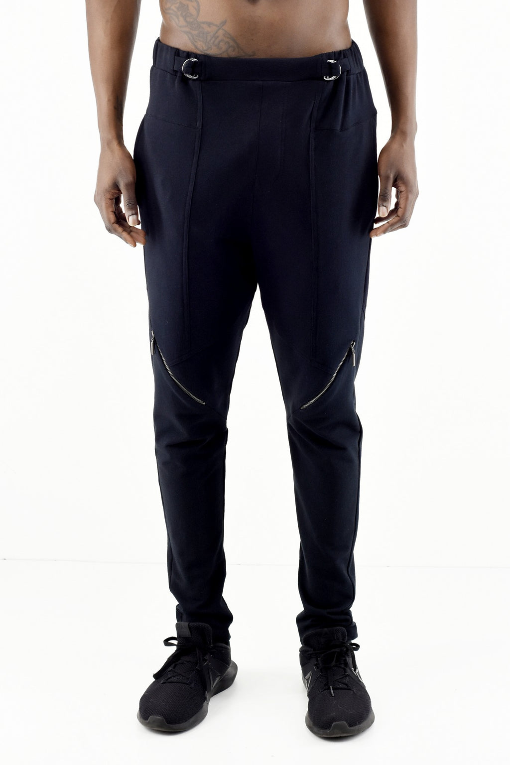 Mens Cotton Trackpants with waist tab and zip detail ZG5284