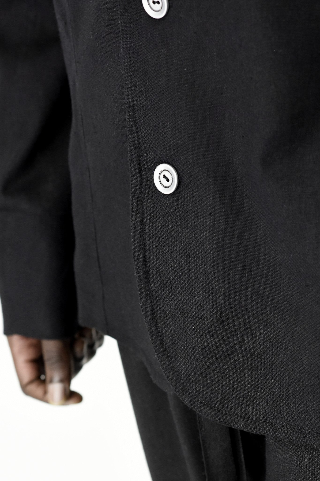 Mens Unstructured Black Linen Jacket ZG5285