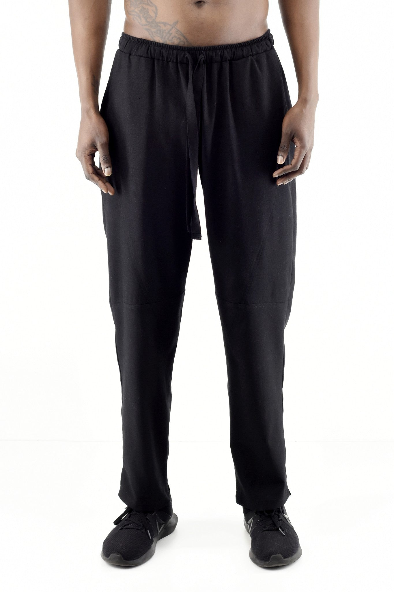Mens Black Linen Drawcord Trousers ZG5286