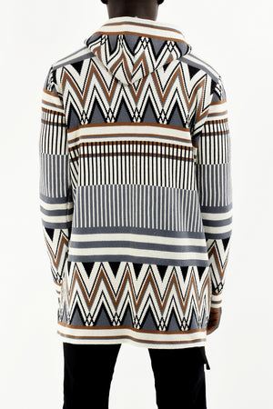 Mens Knitwear Tribal Cardigan with Jacquard Design ZG5292