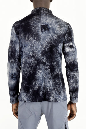 Mens Blues Tie Dye  Zip Top ZG5296