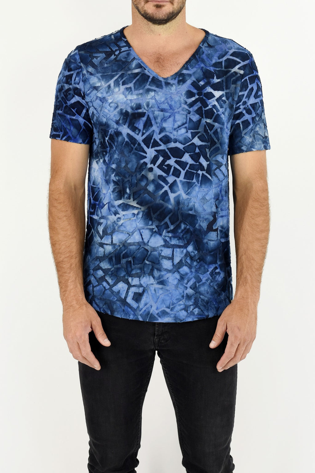 Mens Blues Burnout Print T ZG5302