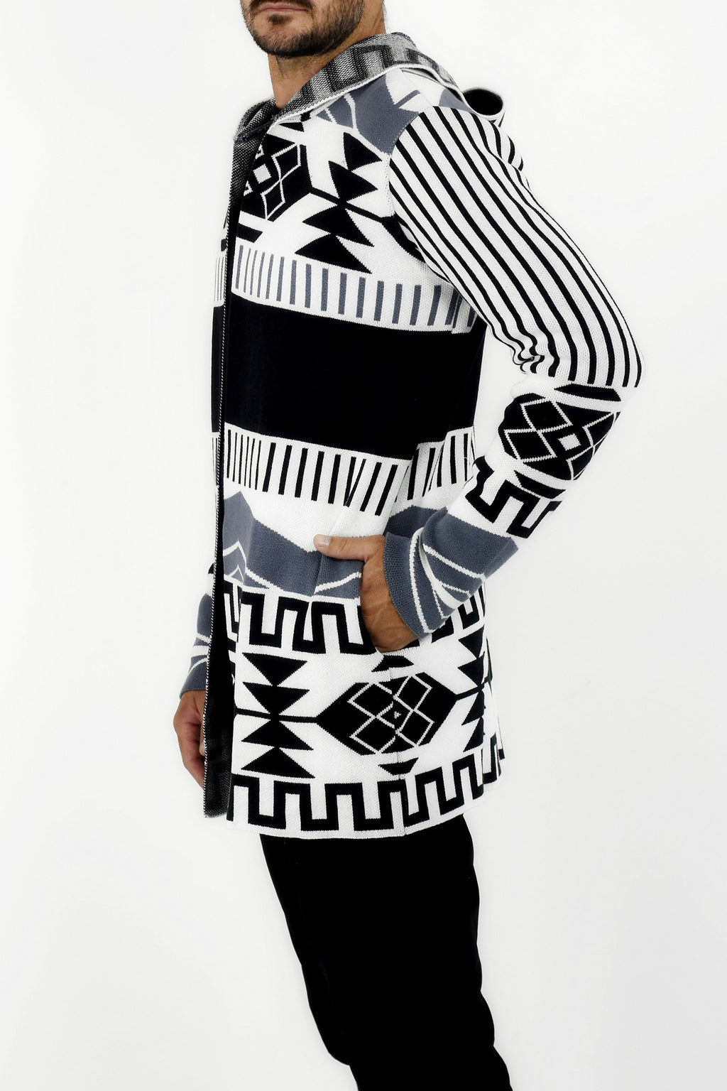 Mens Knitwear Black and Grey Tribal Cardigan with Jacquard Design ZG5306