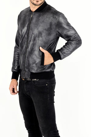 Mens Grey Pleather Zip Bomber Jacket ZG5308