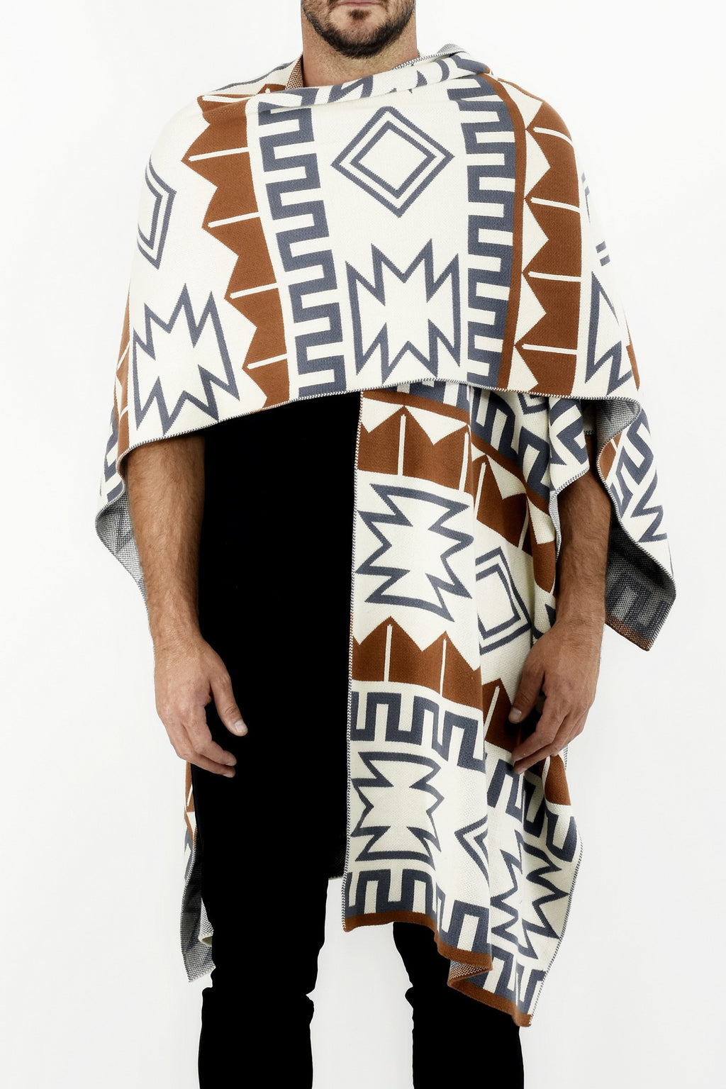 Mens Tan and Grey Knitwear Poncho with Ethnic Jacquard Design ZG5311