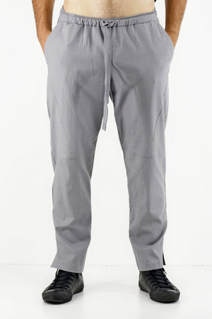 Mens Grey Linen Drawcord Trousers ZG5312