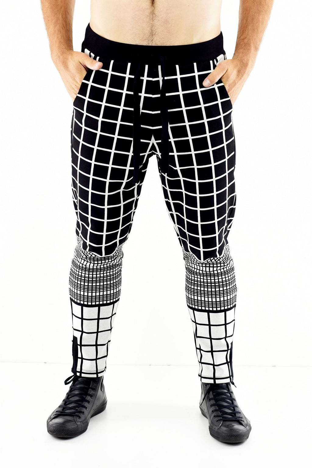 Mens Black and White check pull on pants ZG5317
