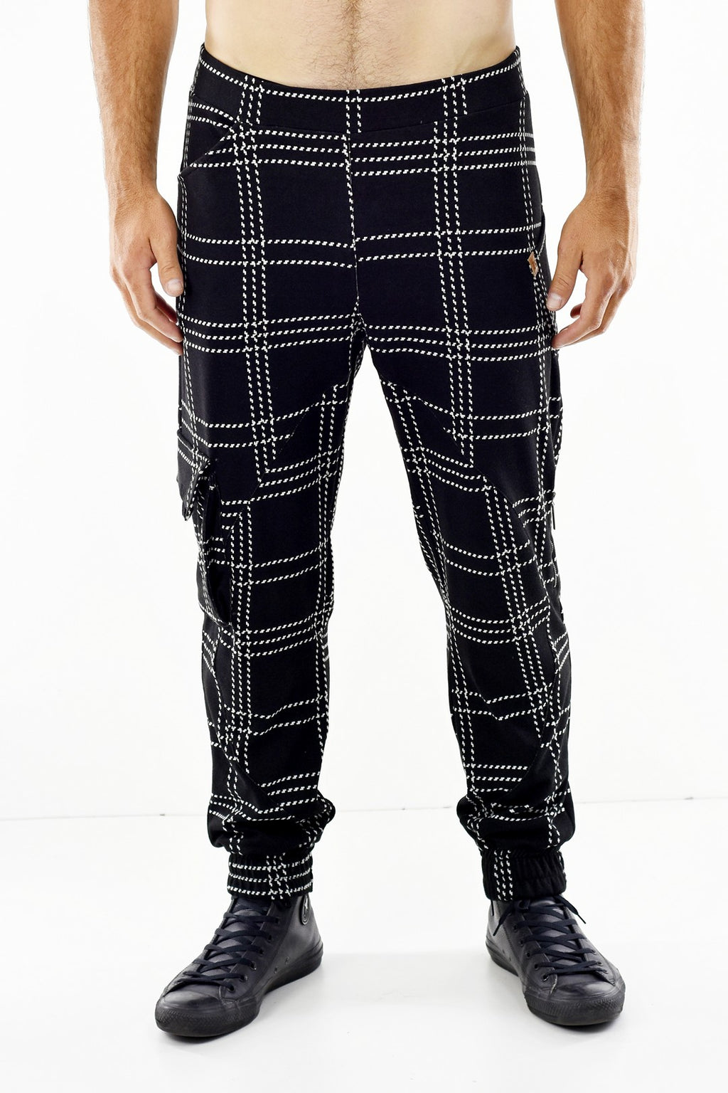 Mens Black and White Zip Detail Check Trousers ZG5318