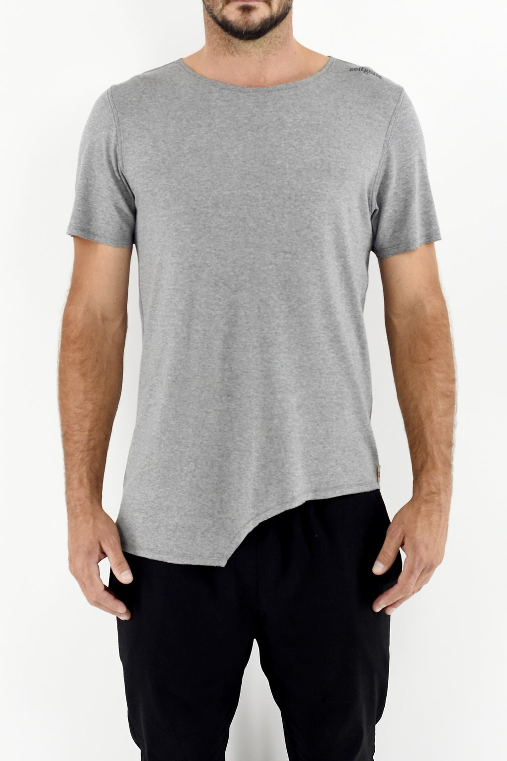 Mens Grey Melange Asymetric hem T with embroidery ZG5320