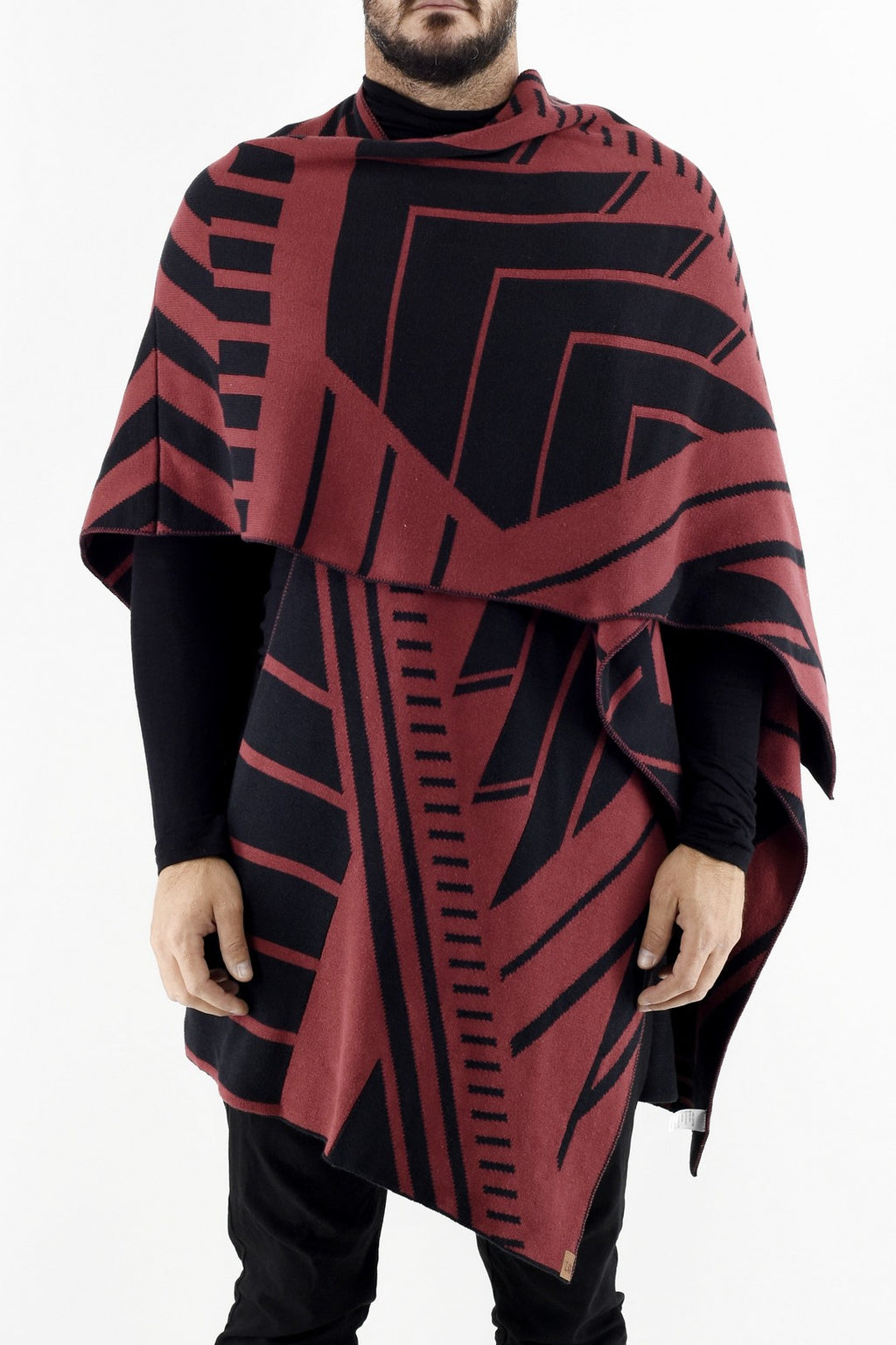 Mens Knitwear Chevron Poncho in Black and Red ZG5322