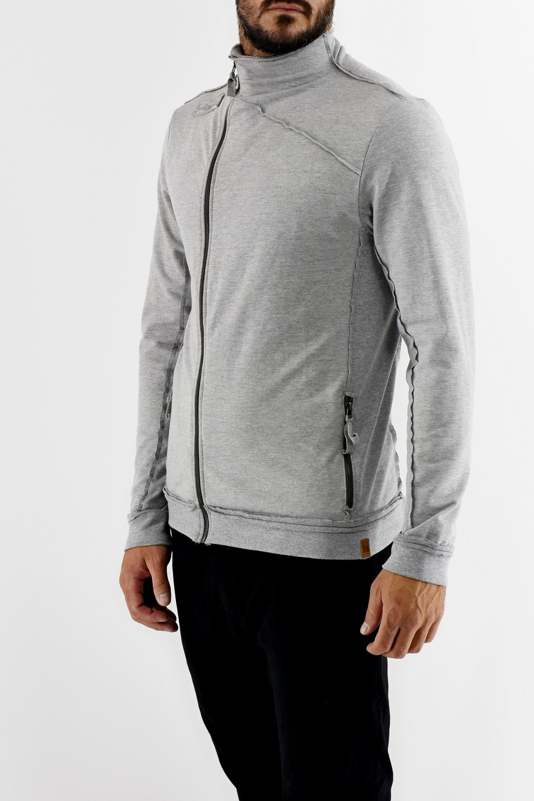 Mens Grey Asymmetric Zip Stretch Fleece Top ZG5325