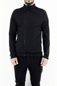Mens Black Asymmetric Zip Stretch Fleece Top ZG5326