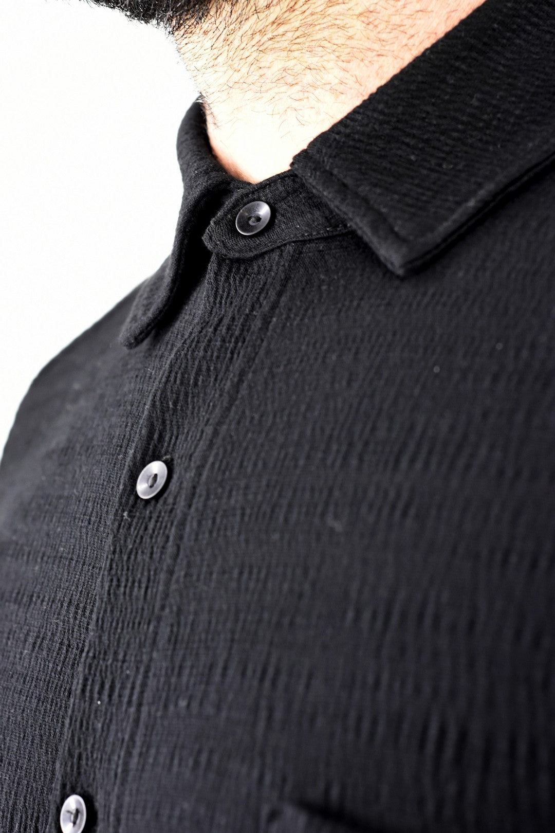 Mens Black Textured Knit Shirt ZG5330