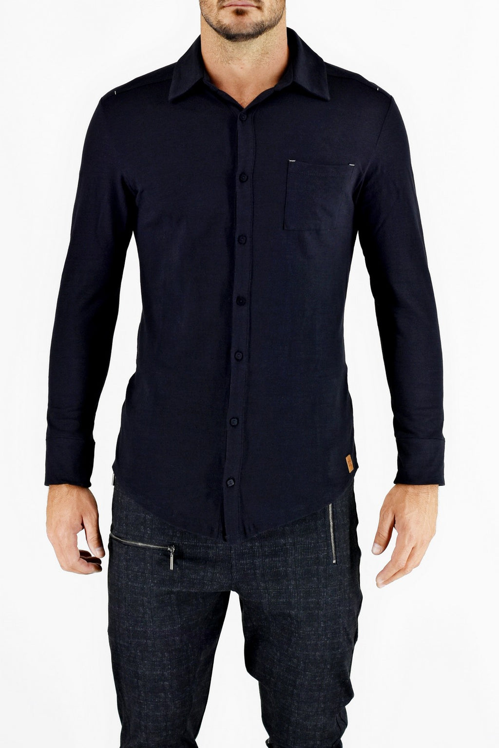 Black Cotton Knit Button Through Shirt