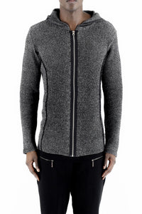 Mens Cotton Marl Zip Cardigan with Hood ZG5139