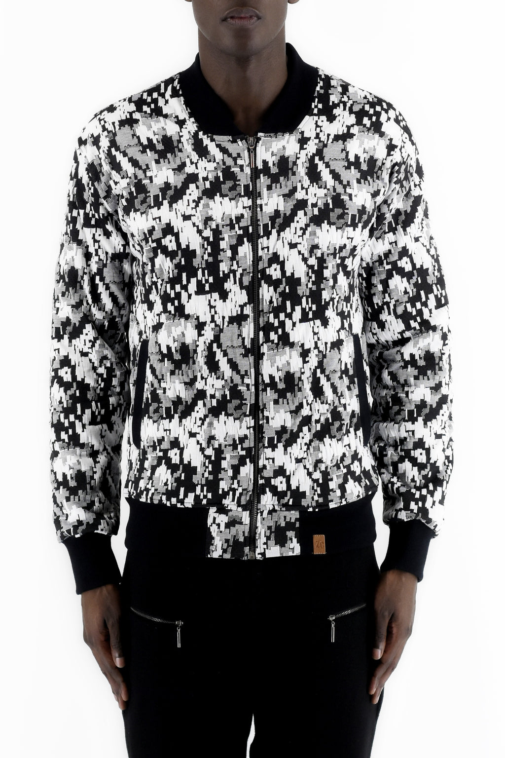 ZG5140 Black/Milk Jacquard Bomber jacket