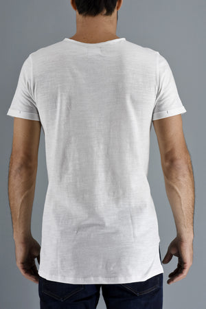 White Step Hem Cotton Slub T-shirt ZG5143