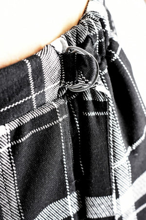 Mens Pants Tartan Black & White with D-ring and Zip Detail ZG5182